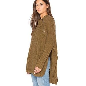 Free People Oversized Boho Mockneck Poncho Sweater